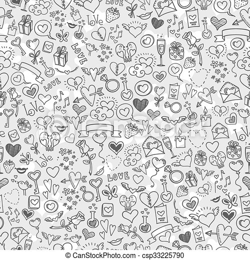 love and hearts doodles, seamless background - csp33225790