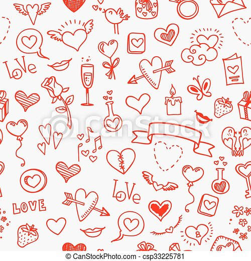 love and hearts doodles, seamless background - csp33225781