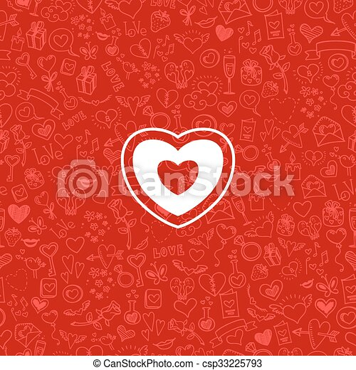 love and hearts doodles, vector background - csp33225793
