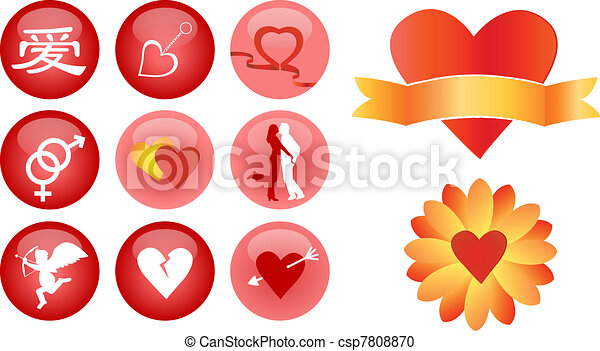 love and romance vector icons - csp7808870