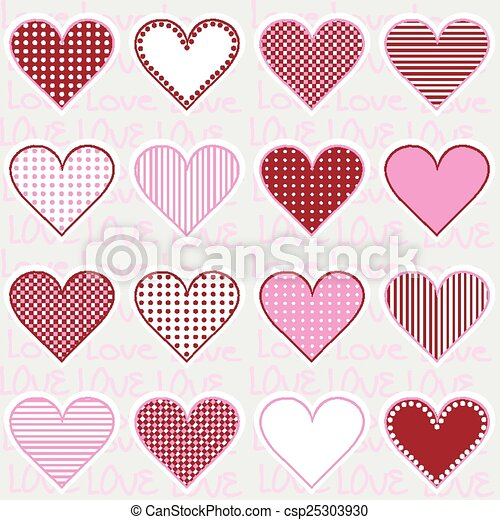 Love background with heart frames on pink, pattern for baby girl.
