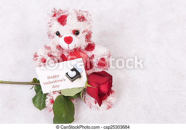 Love Bear with hearts rose and card happy valentine's day - csp25303684