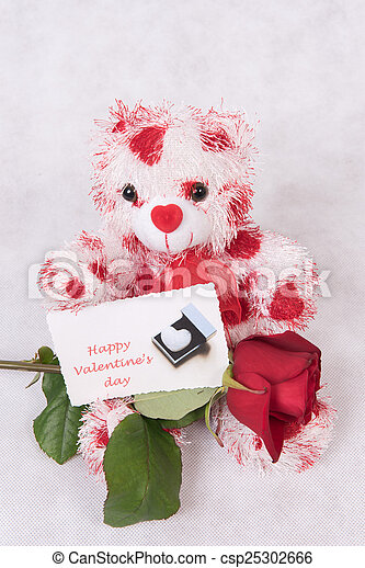 Love Bear with hearts rose and card happy valentine's day - csp25302666