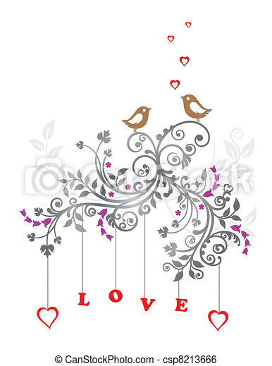 Love birds and floral ornament - csp8213666