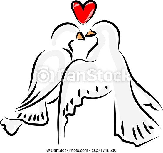 Love birds, illustration, vector on white background. - csp71718586