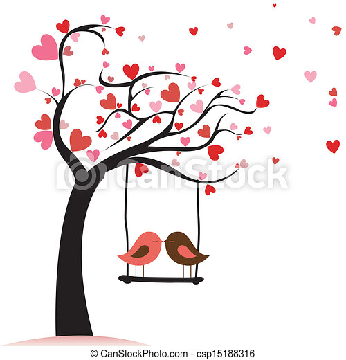 love birds two birds in love on abstract tree with heart leaf rh canstockphoto com flying love birds clipart love birds images clipart