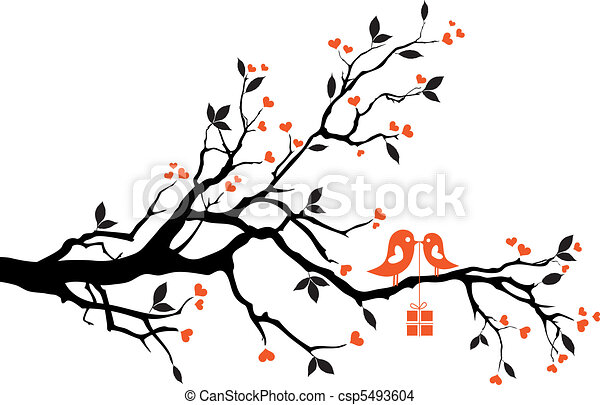 love birds with gift box, vector - csp5493604