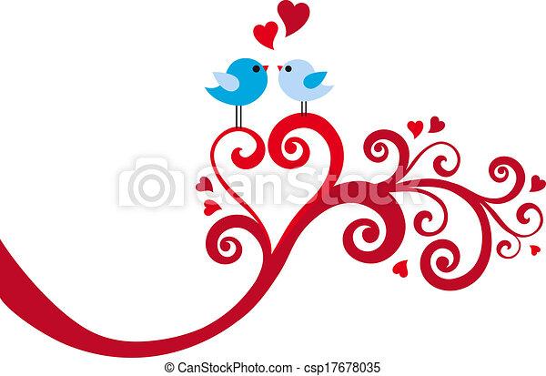 love birds with heart swirl, vector - csp17678035