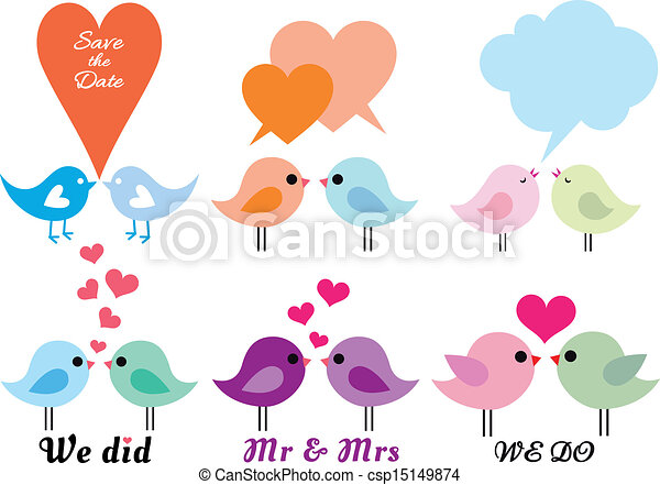 Love Birds With Hearts Vector Set Cute Love Birds With Hearts Set