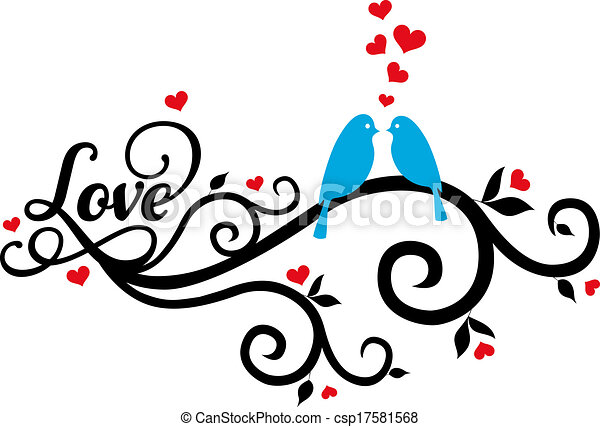 love birds with red hearts, vector - csp17581568