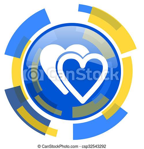 love blue yellow glossy web icon - csp32543292