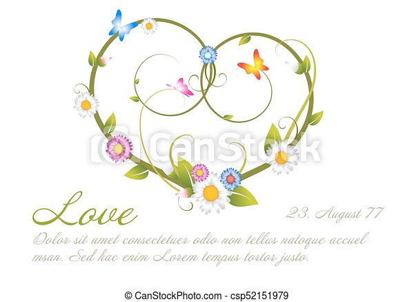 love card template made from flowers love card frame template
