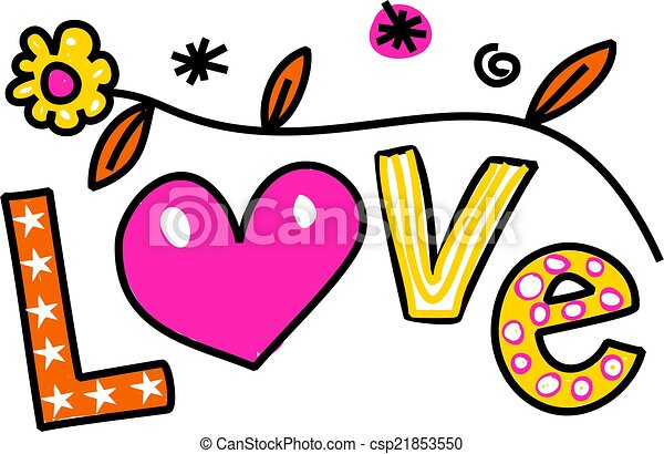 love cartoon text clipart hand drawn and colored whimsical stock rh canstockphoto com