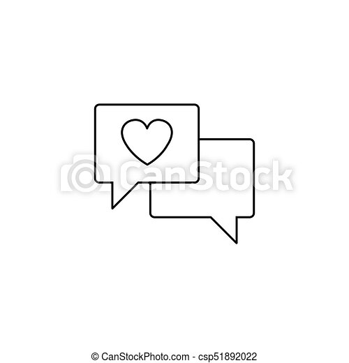 Love Chat Line Icon Heart In Speech Bubble Vector Graphics A