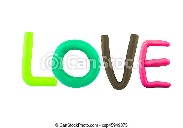 LOVE , clay on the white background - csp45949375