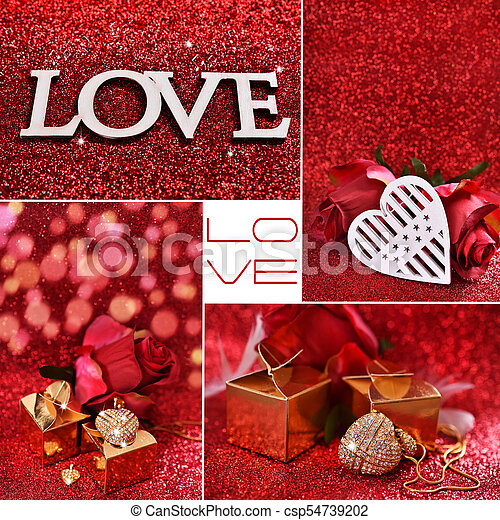 love collage with red glitter background love collage with hearts
