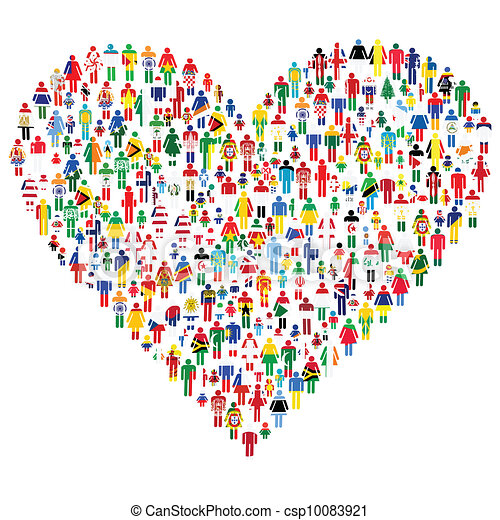 Love concept; heart made of people. People are made of all flags from the World. - csp10083921