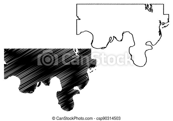 Love County, Oklahoma State (U.S. county, United States of America, USA, U.S., US) map vector illustration, scribble sketch Love map - csp90314503