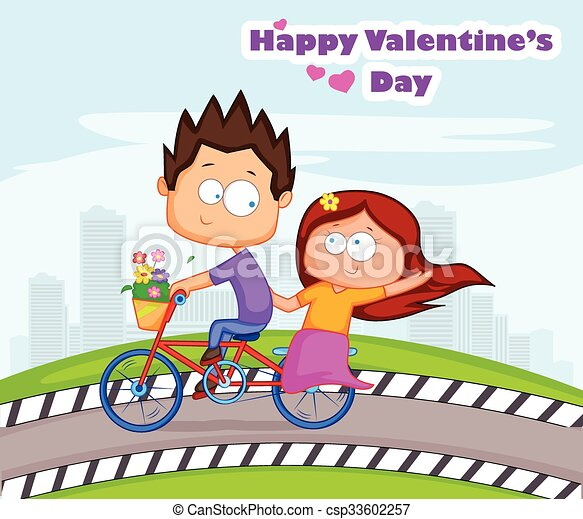 Love Couple In Valentines Day Love Couple Riding On Cycle For