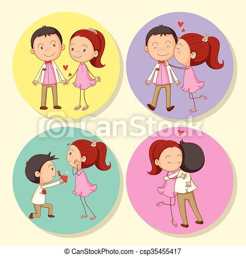 Love couple on round badge - csp35455417