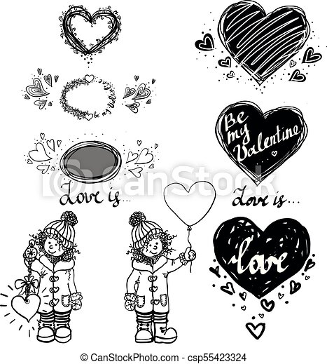Love Cute Small Girl And Heart Winter Hand Drawn Vector Illustration Set