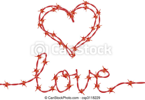 Love and heart with red barbed wire, vector eps vectors - Search ...