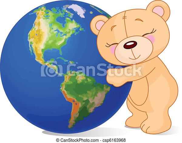 love earth bear teddy bear hugging the earth vector search clip rh canstockphoto com Planet Earth Clip Art Earth Globe Clip Art