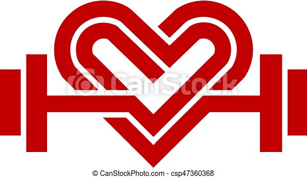 love fit logo vector heart sign and dumbbell logo fitness and
