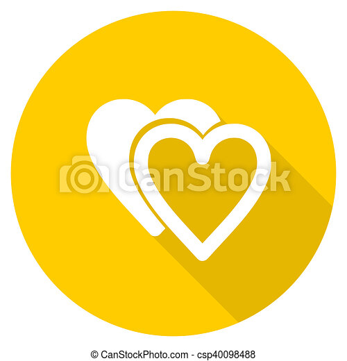 love flat design yellow web icon - csp40098488