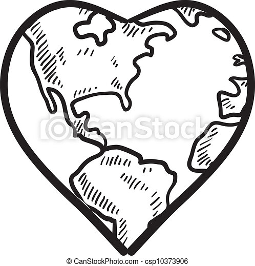 Love for the earth sketch - csp10373906