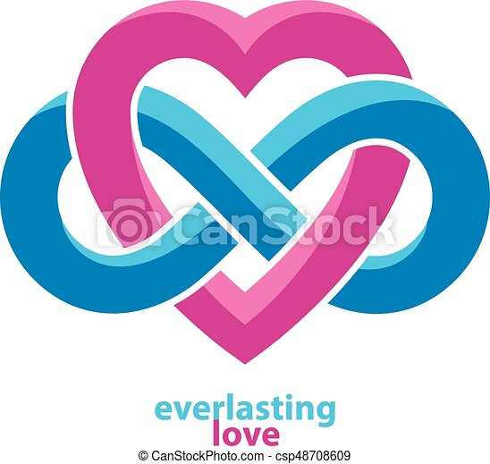Love Forever Conceptual Sign Vector Symbol Created With Infinity