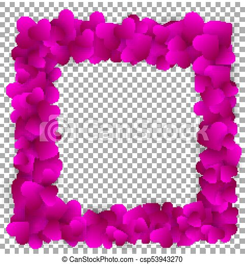 Love frame made of cute purple paper hearts, isolated on transparent ...