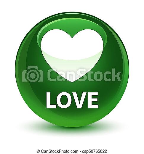 Love glassy soft green round button - csp50765822