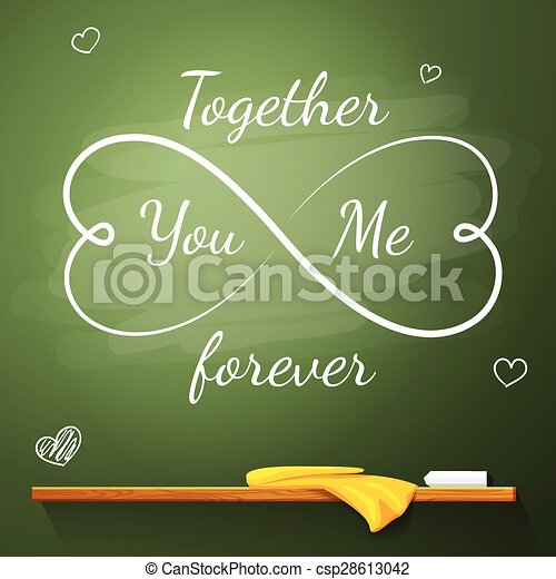 You And Me Together Forever Lettering Watercolor Motivation Poster