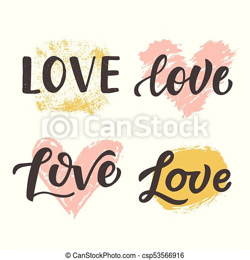 Love Hand Drawn Brush Lettering Collection Isolated On White