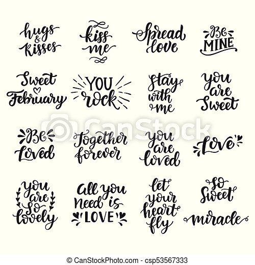 Love Hand Drawn Quotes Collection Valentines Day Romantic Phrases