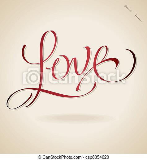 'love' hand lettering (vector) - csp8354620