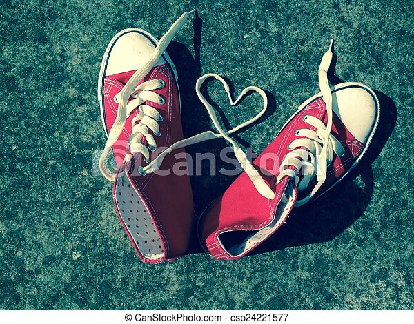 Love heart baseball boots sneakers laces - csp24221577