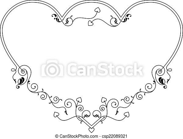 Love, heart frame border design vector art.