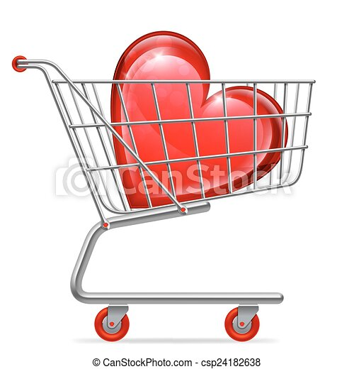 Love Heart in Shopping Cart - csp24182638