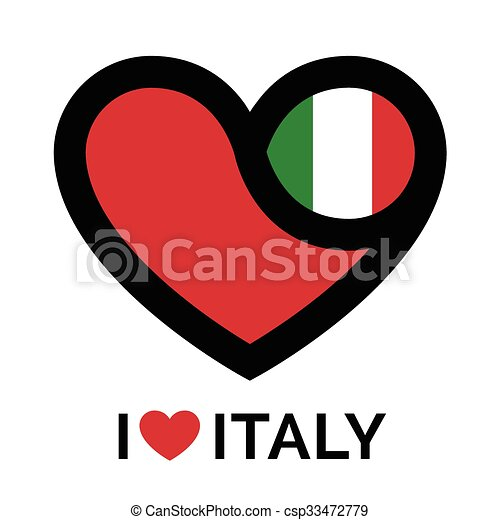 Love heart Italy flag icon - csp33472779