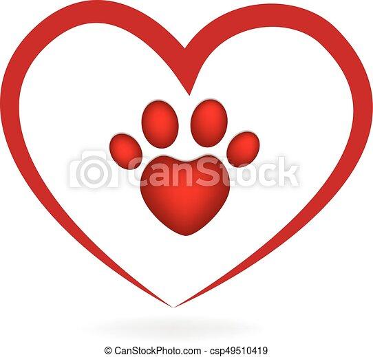 love heart paw print dog logo vector