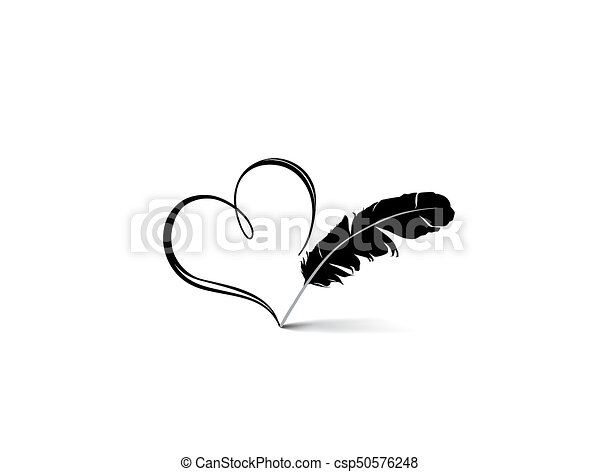 Line Art Feather : Love heart red calligraphic sign drawn by feather pen drawing