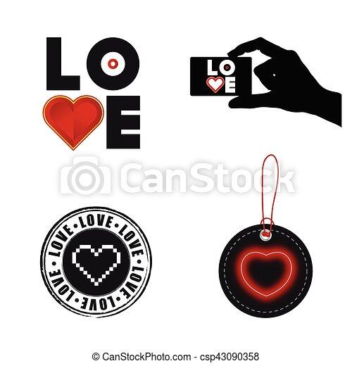 love heart set illustration on white background - csp43090358