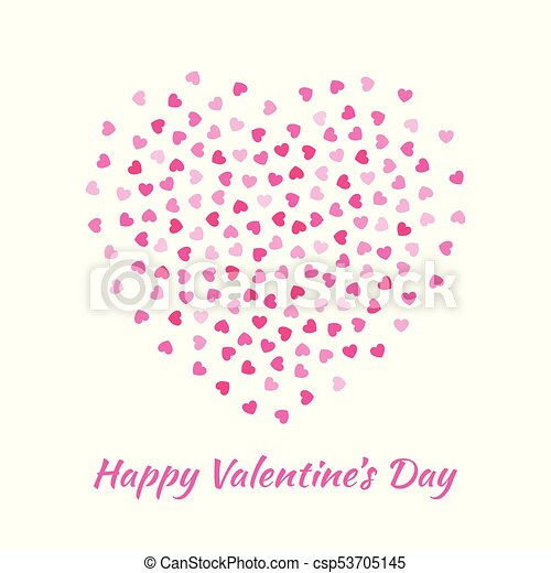 Love Heart Silhouette From Gentle Flying Pink Hearts Isolated On