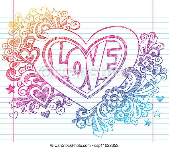 Love Heart Sketchy Doodles Vector - csp11022853