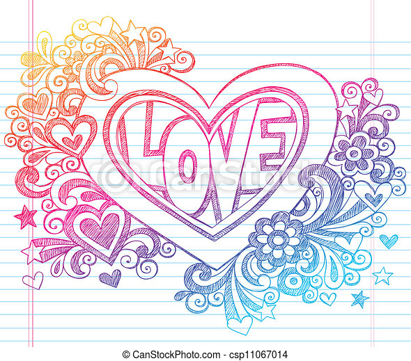 Love heart sketchy doodles vector sketchy doodle love for Love doodles to draw
