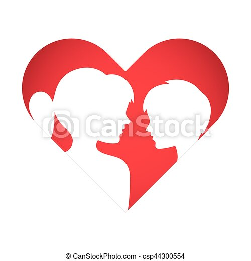 Love Heart Symbol With Boy And Girl Silhouette Vector Stock Of Boy