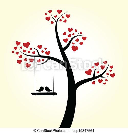 love heart tree love birds clip art vector search