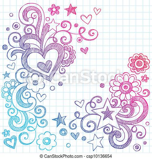Love Hearts Sketchy Doodles Vector - csp10136654